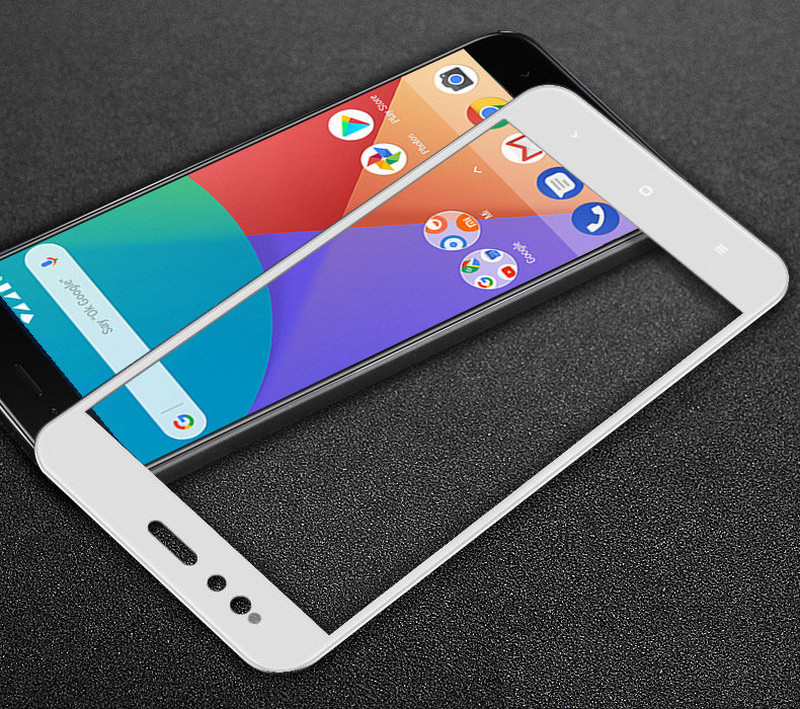Белое защитное стекло для Xiaomi Mi A1