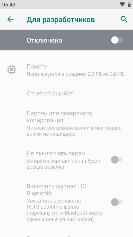 режим разработчика отключен